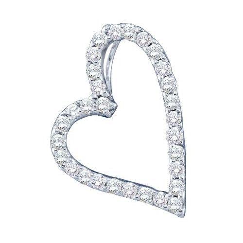 14k White Gold 0.21Ctw Round Diamond Heart Ladies Highend Pendant: Pendant