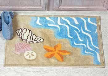 Sea Shell Ocean Beach Bathmat Rug Starfish Sand Dollar