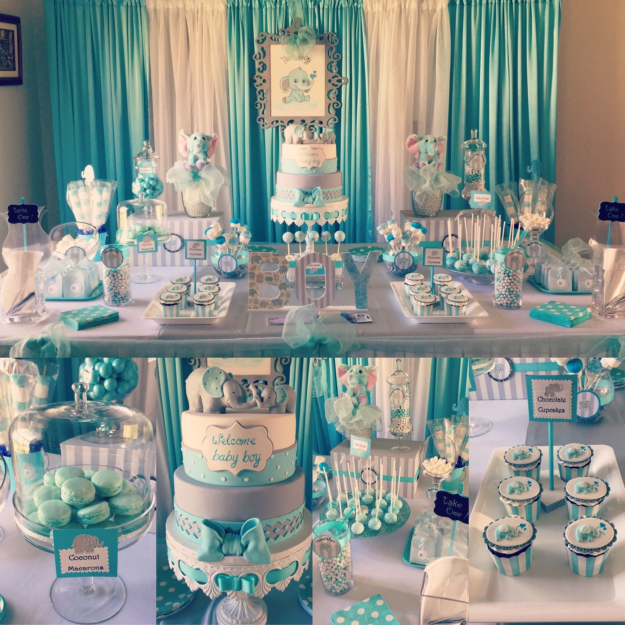 Boy Baby Shower Elephant Theme | Party Decor | Pinterest ...