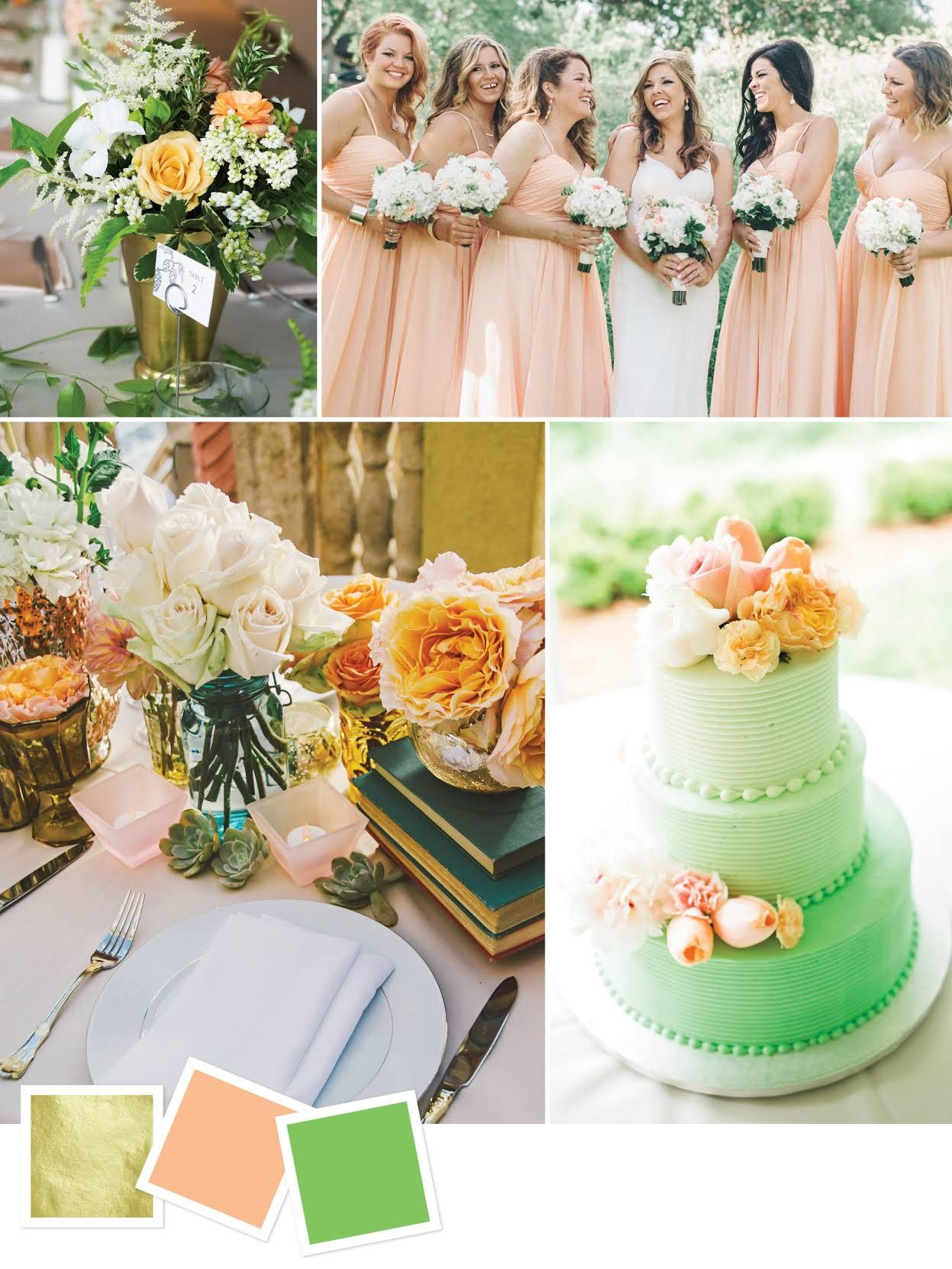 Gold + Peach + Green Good For: Outdoor Summer Wedding Themes