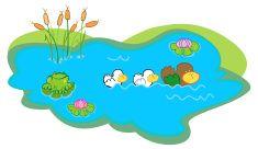 Farm pond vector art illustration
