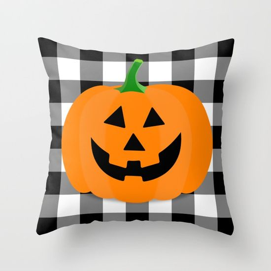Halloween Jack O\u0027Lantern Buffalo Check Throw Pillow Halloween jack - halloween design