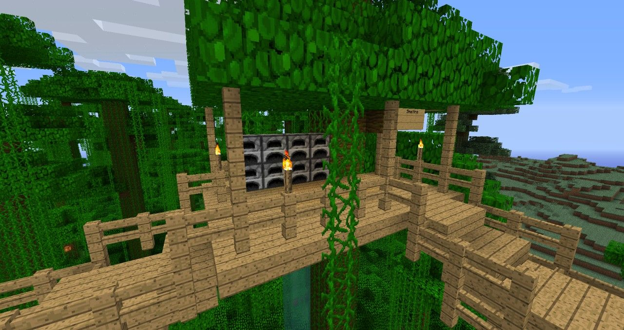 Jungle Tree House Survival Minecraft Project Minecraft Houses Tree House Minecraft Projects