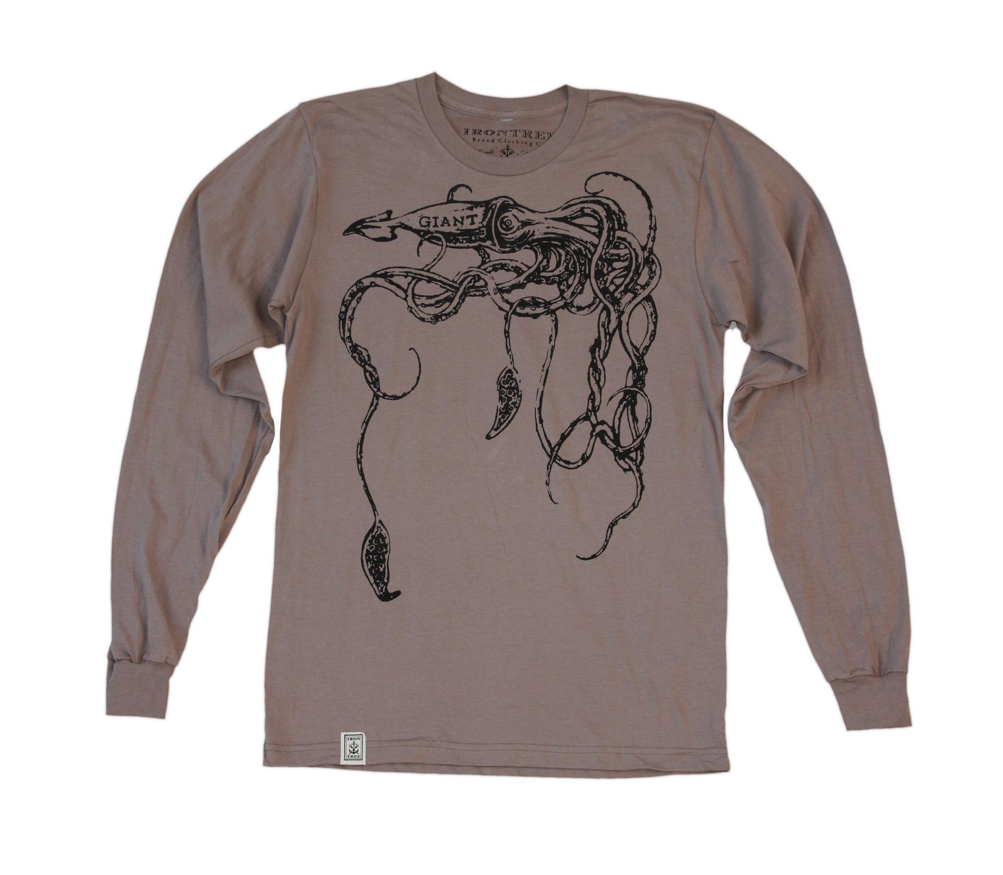 The Giant Squid: Unisex Organic Fine Jersey Long Sleeve T-Shirt in Cinder