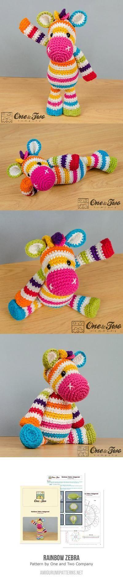 Rainbow zebra amigurumi pattern by One and Two Company | Pinterest ...