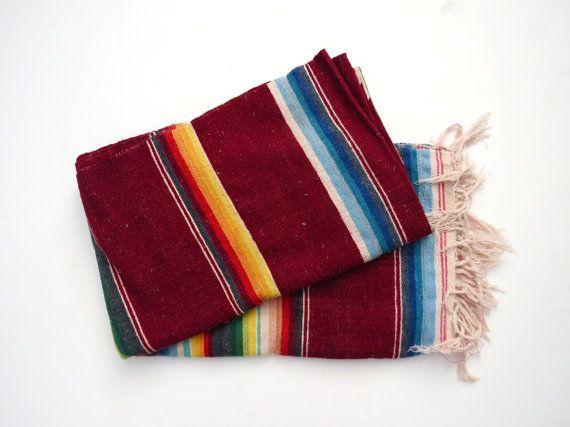 Maroon Mexican Serape // Striped Southwest Bohemian