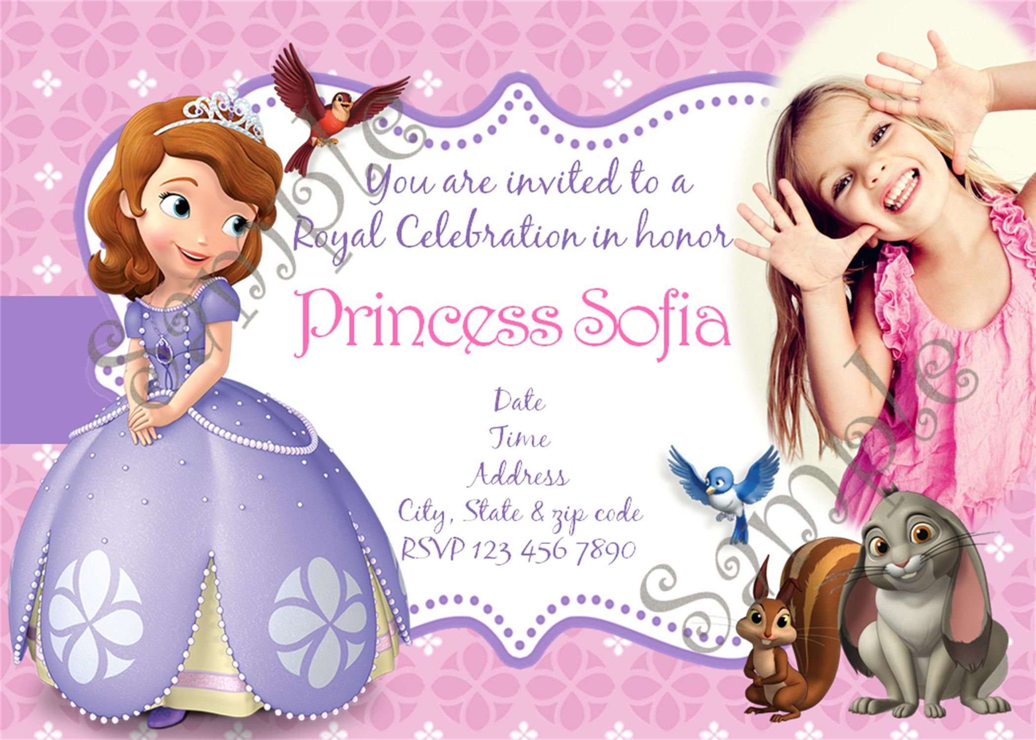 Sofia the first birthday party invitation | Sofia the first Birthday ...