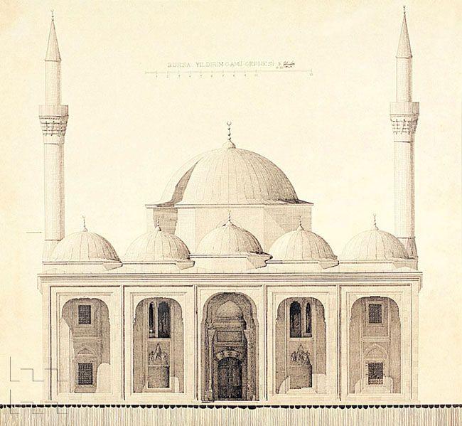Elevation Of Bursa Yildirim Cami Drawing Bursa Camiler Mimari Cizimler