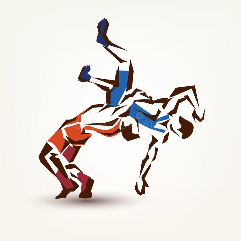 Wrestling symbol. Vector silhouette of two athletes , #Aff, #symbol, #Wrestling, #Vector, #athletes, #silhouette #ad