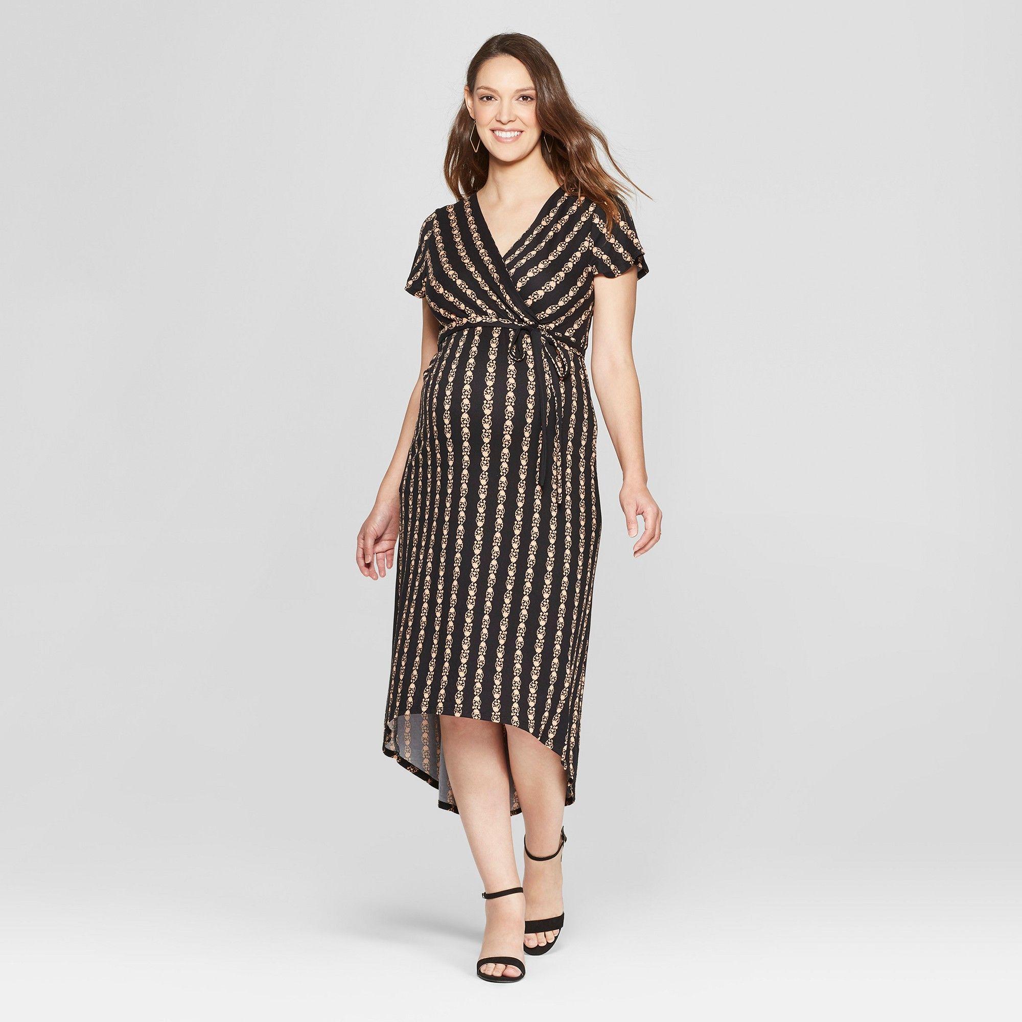 7d7bb46758e Maternity Floral Print Short Sleeve V-Neck High Low Maxi Dress - MaCherie -  Black XL