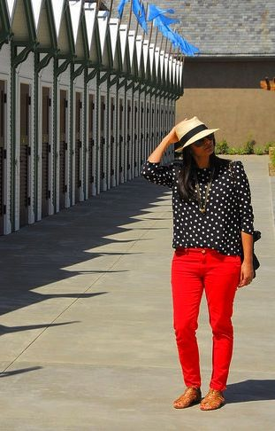 Look of the Day: Red Red Wine | Pants, Style and Skinny jeans