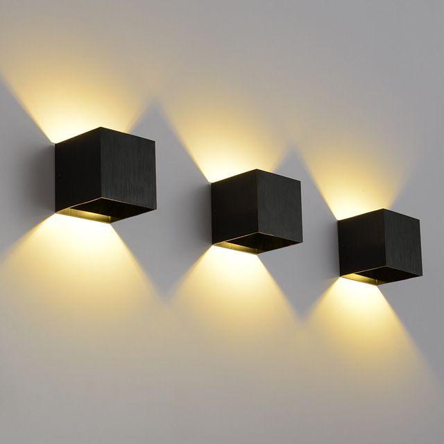 Moderne vierkante led wandlamp 3 w 2 stks armatuur wandlamp 110 v ...