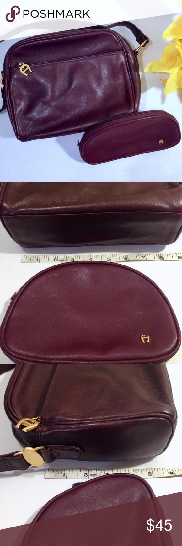 ETIENNE AIGNER Purple LEATHER Purse   Make-up Case 0d6dee25b7