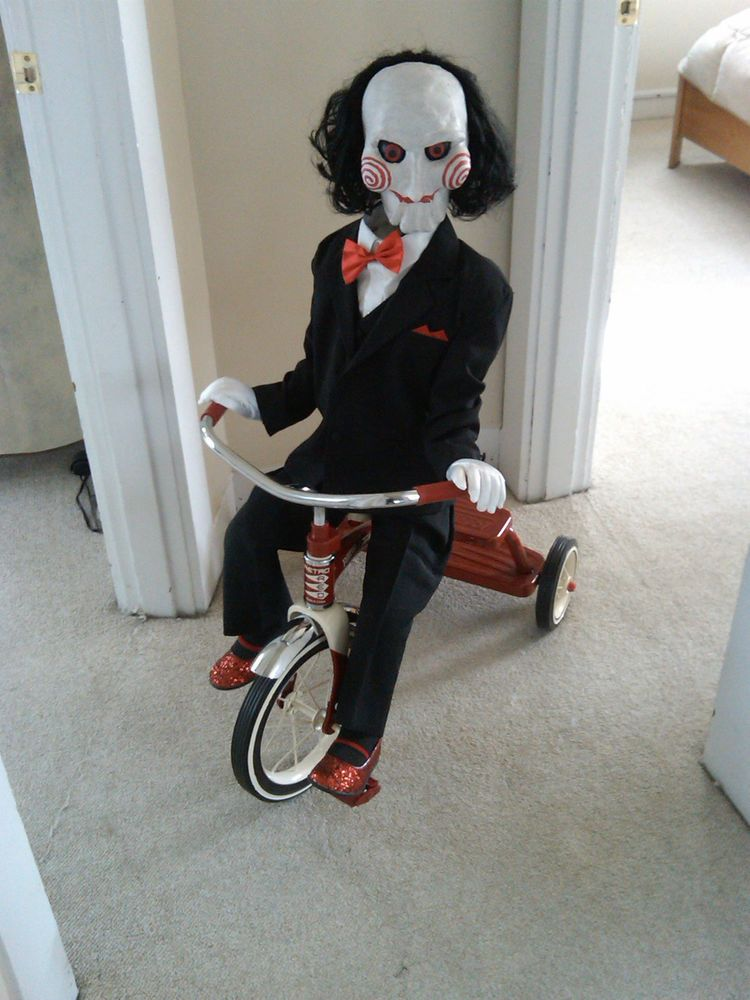clown puppet halloween prop life sized haunted doll creepy scary horror saw