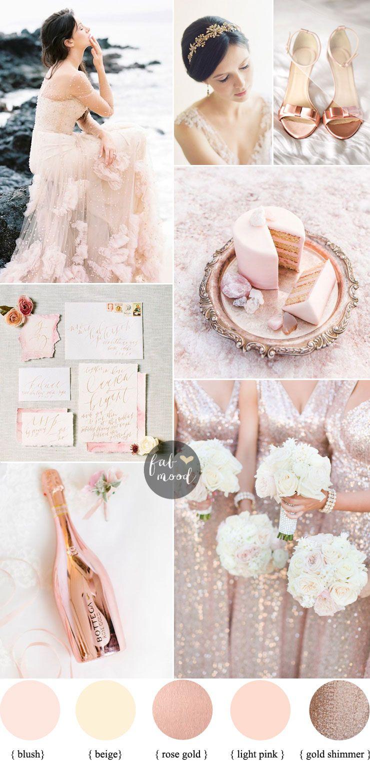 Elegant Ethereal Wedding In Blush Rose Gold Gold Shimmer Reem Acra Wedding Gown Wedding Colors Ethereal Wedding Wedding Theme Colors