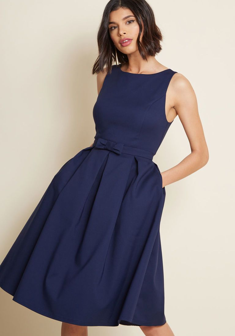 7692f03f8817e Polish Aplenty Fit and Flare Dress in Navy in 1X - Sleeveless Fit & Flare  Knee Length