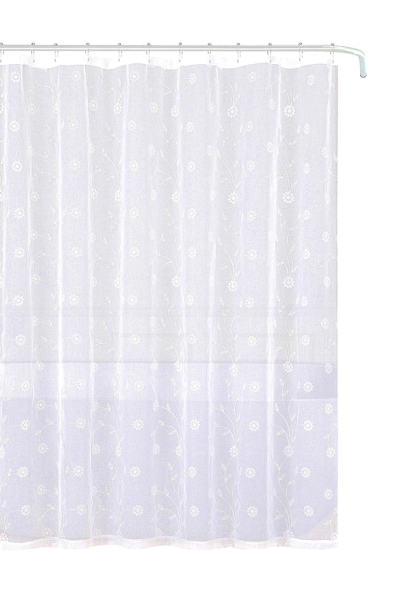 Emily Decorative Sheer Fabric Shower Curtain White Silver Embroidered Flowers 70 X 72 Lavorist Fabric Shower Curtains White Shower Curtain Curtains