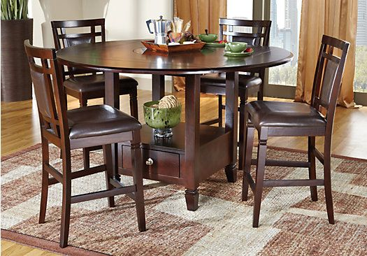 Landon Chocolate 5pc Counter Height Dining Room Rooms To Go Furniture Round Dining Room Sets Counter Height Dining Room Tables Round counter height dining sets