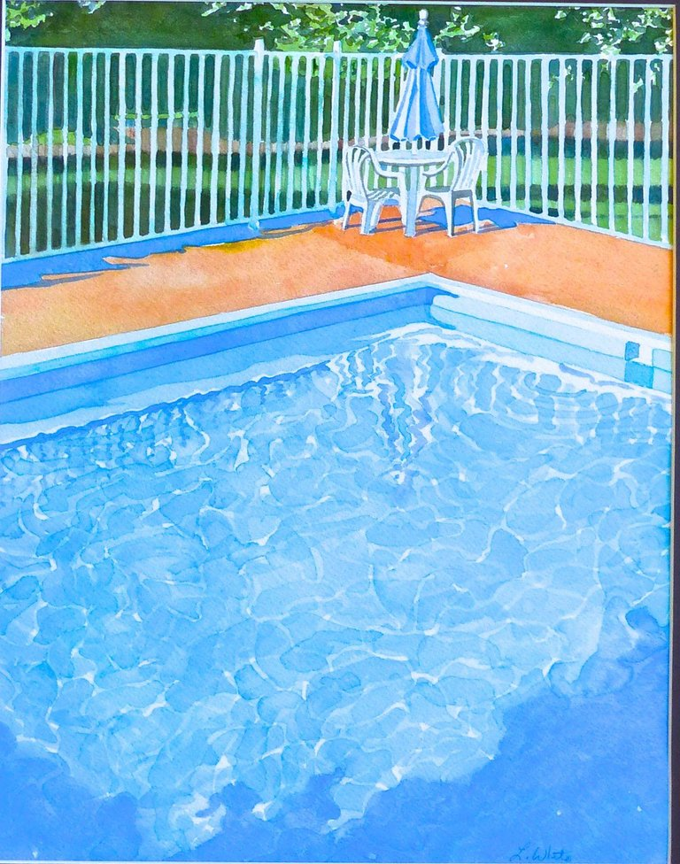Leslie White Pool Umbrella Painting Watercolor On Paper