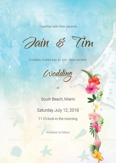 Beach Wedding Invitation Card Template