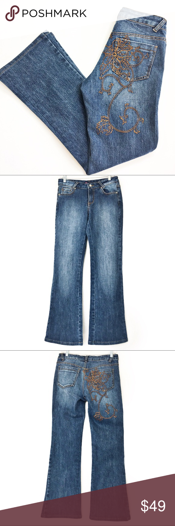 bf5cb069 Cache Embroidered Flare Leg Jeans Cache jeans with a slight flare. Medium  was with floral