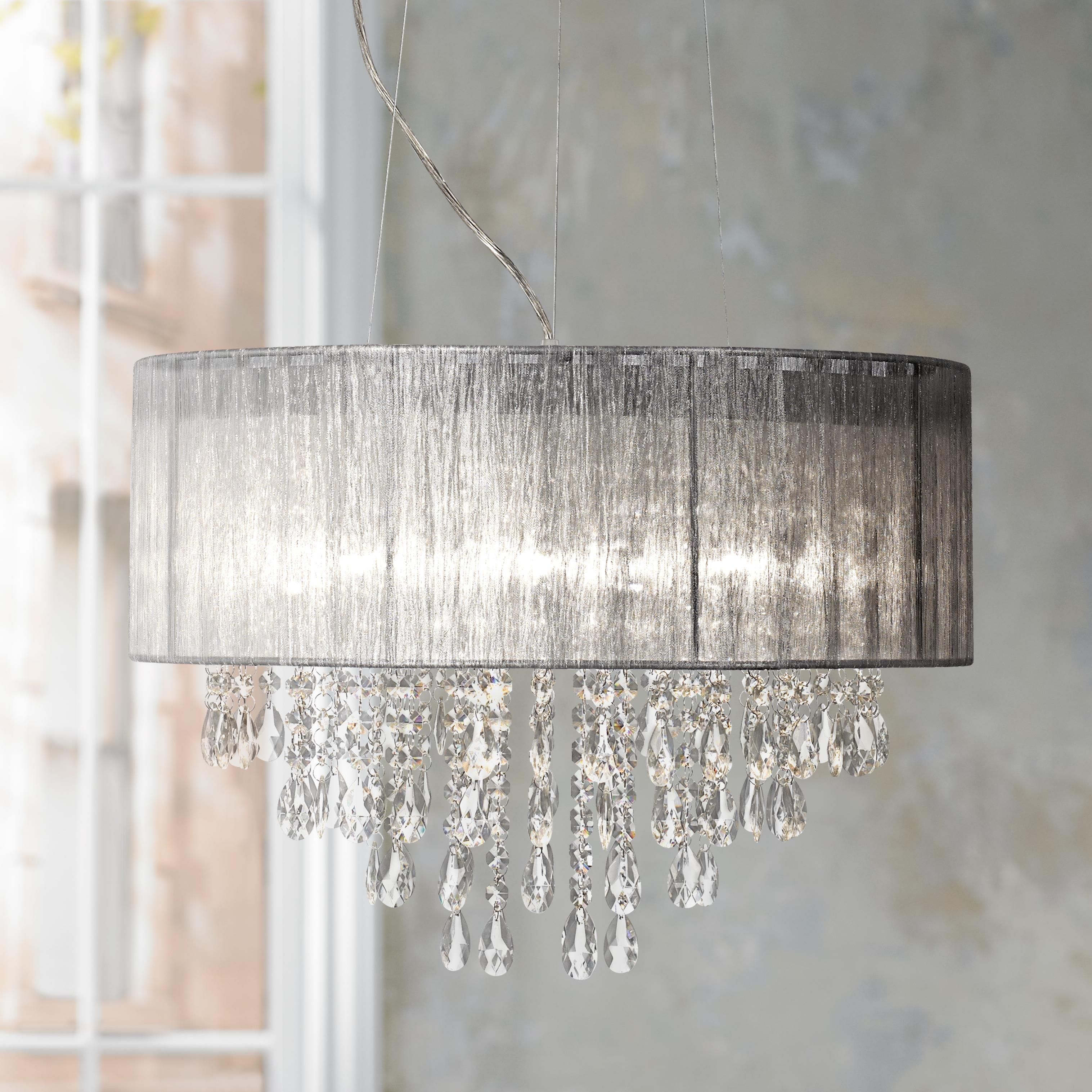 Possini euro metairie 20w silver fabric crystal chandelier classic ceiling silver fabric