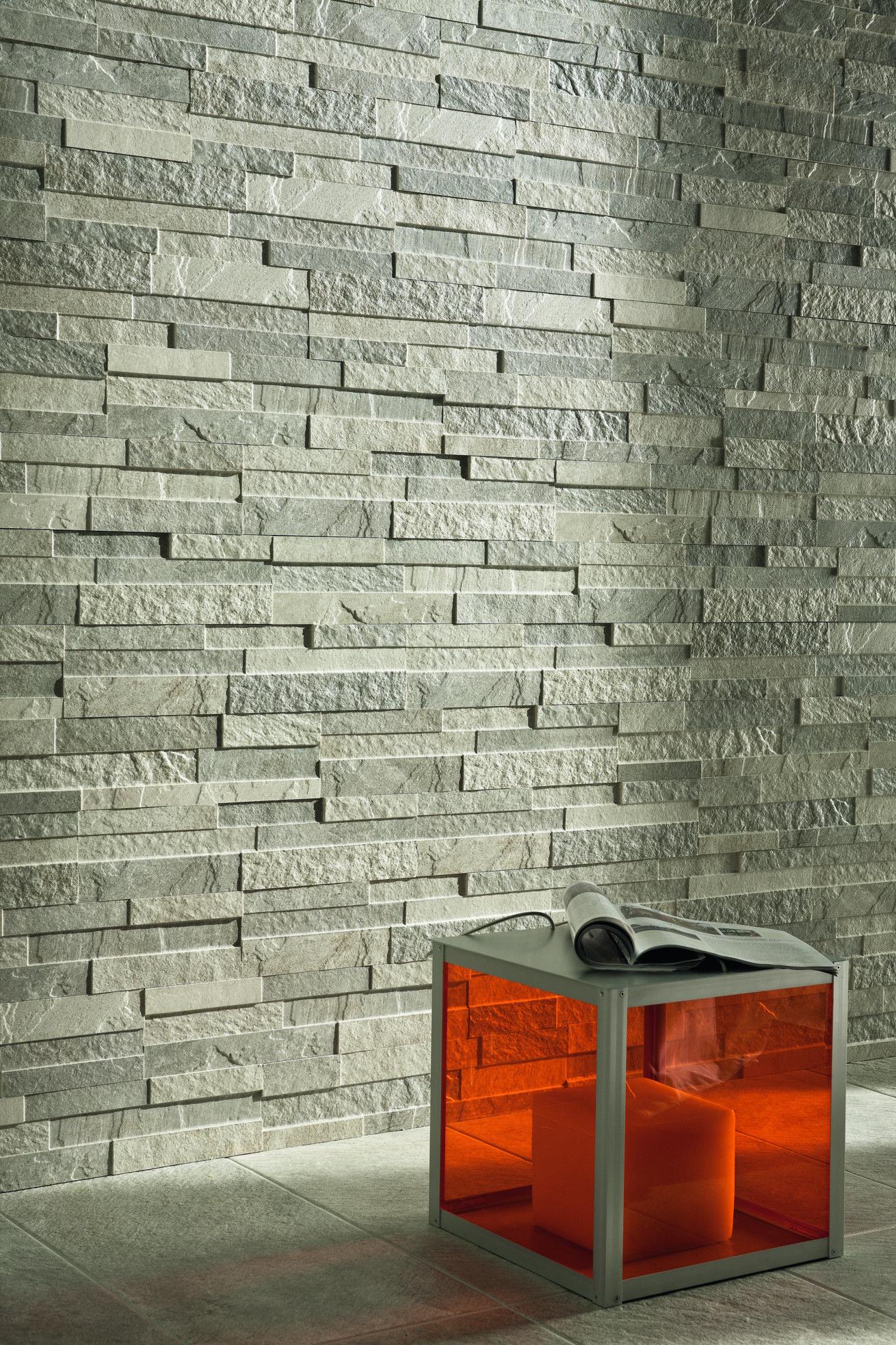 Roxstones collection roxwall2 silvergray tiles decors ceramichecaesar caesar decors - Revestimiento paredes imitacion piedra ...