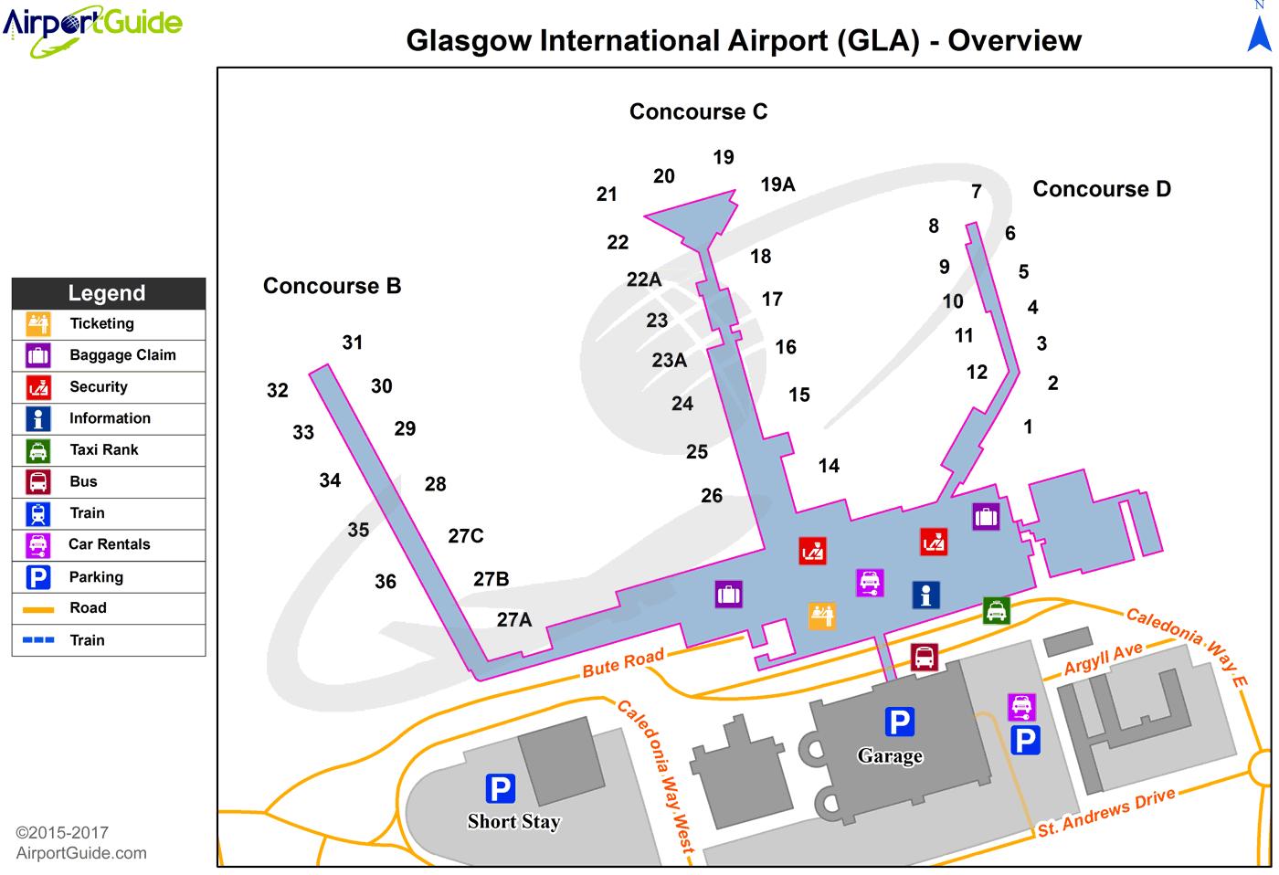 Glasgow Glasgow International (GLA) Airport Terminal Map