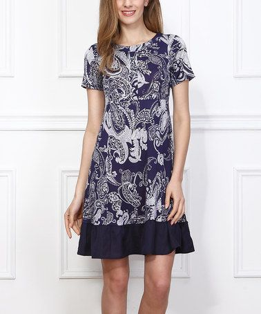 Reborn Collection Navy Paisley Ruffle-Hem Tunic | zulily