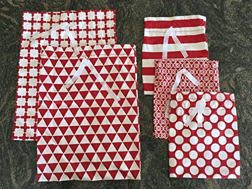 Reusable Fabric Gift Bags – Wrap Christmas Presents in seconds (Standard Set, Red)
