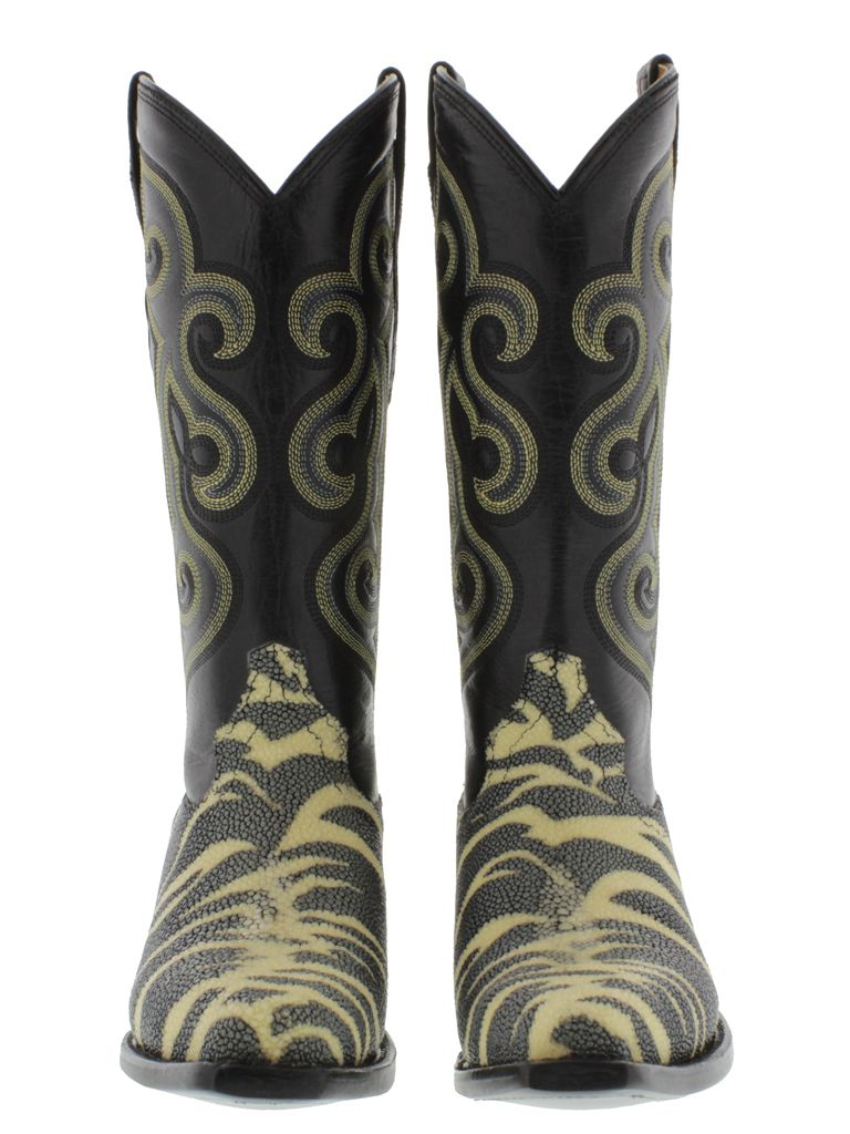 a3ca5d5b74631 Details about Black Leather Stingray Exotic Cowboy Cowgirl Western ...
