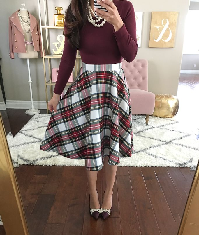 f17889eea7 Burgundy long sleeve tee, classic plaid skirt, burgundy bow pumps, holiday  outfit, faux pearl necklace - click the photo for outfit details!