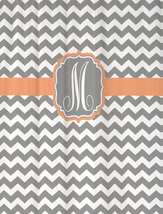 peach and gray shower curtain. Already printed and in stock Shower Curtain Cool Gray Chevron with Peach  Accents Monogram M
