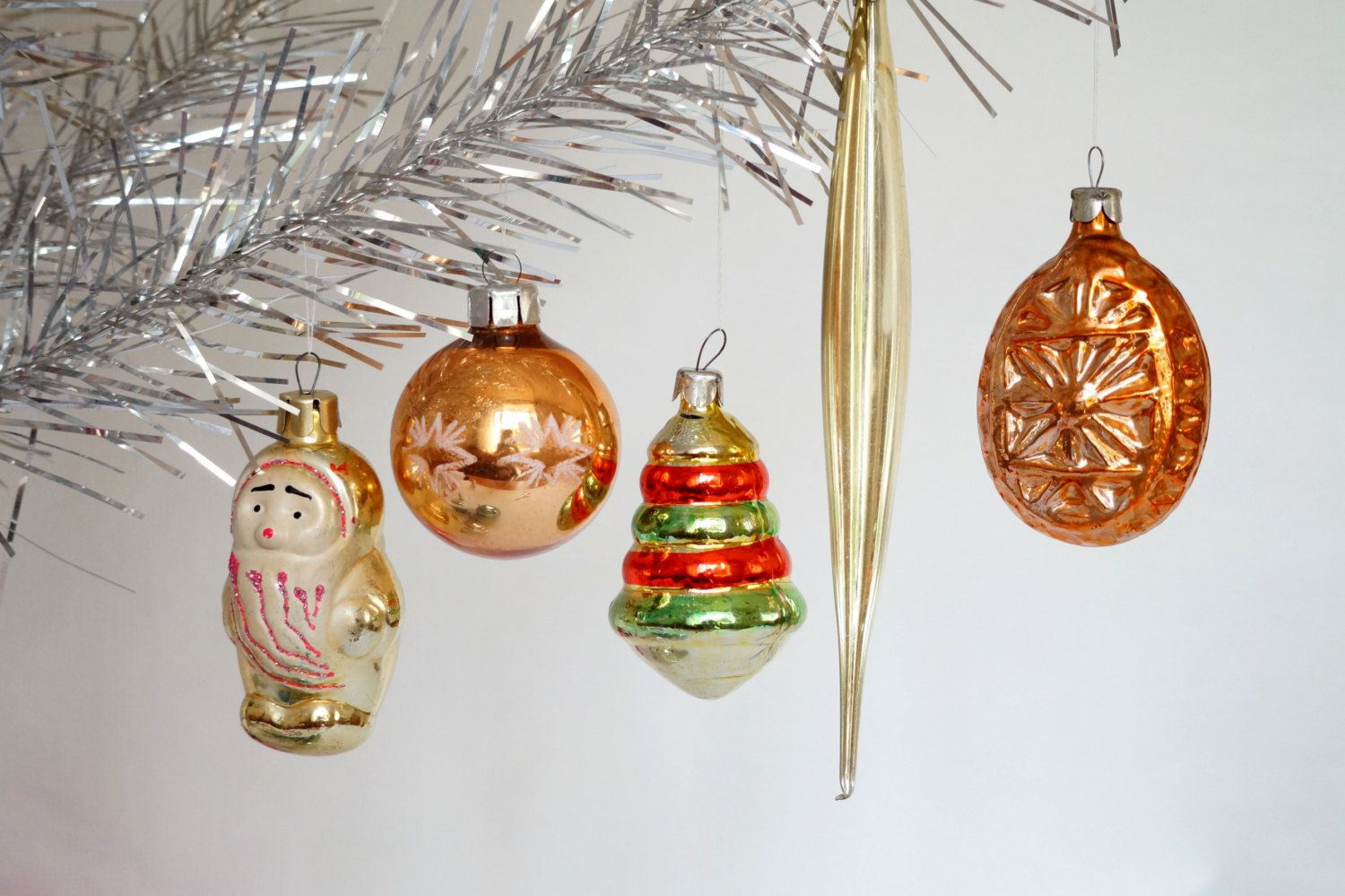 Gold Christmas ornaments Set of 4 - gnome - ball - icicle ...