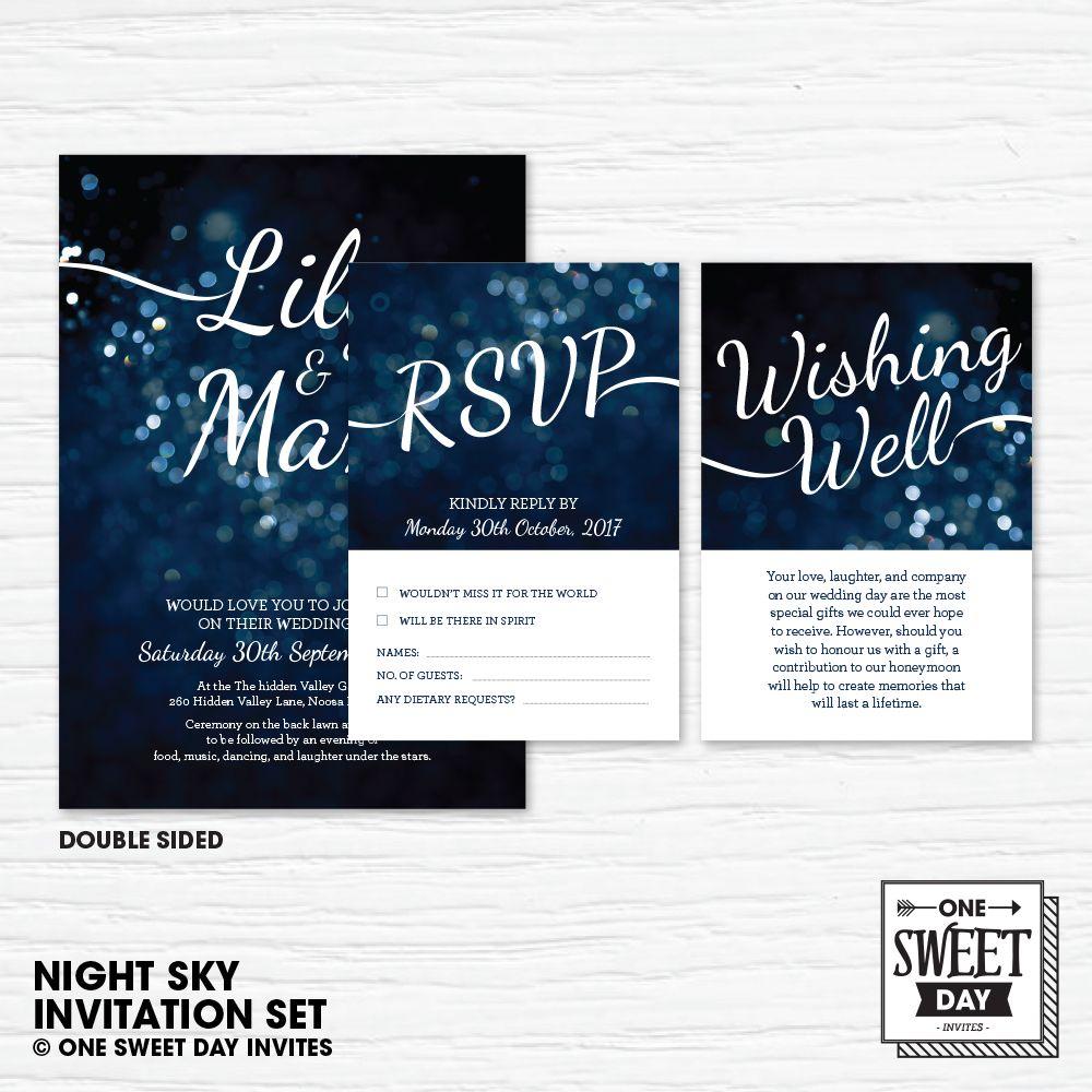 Wedding Invitation Printable, elegant, night sky, Stars, evening ...