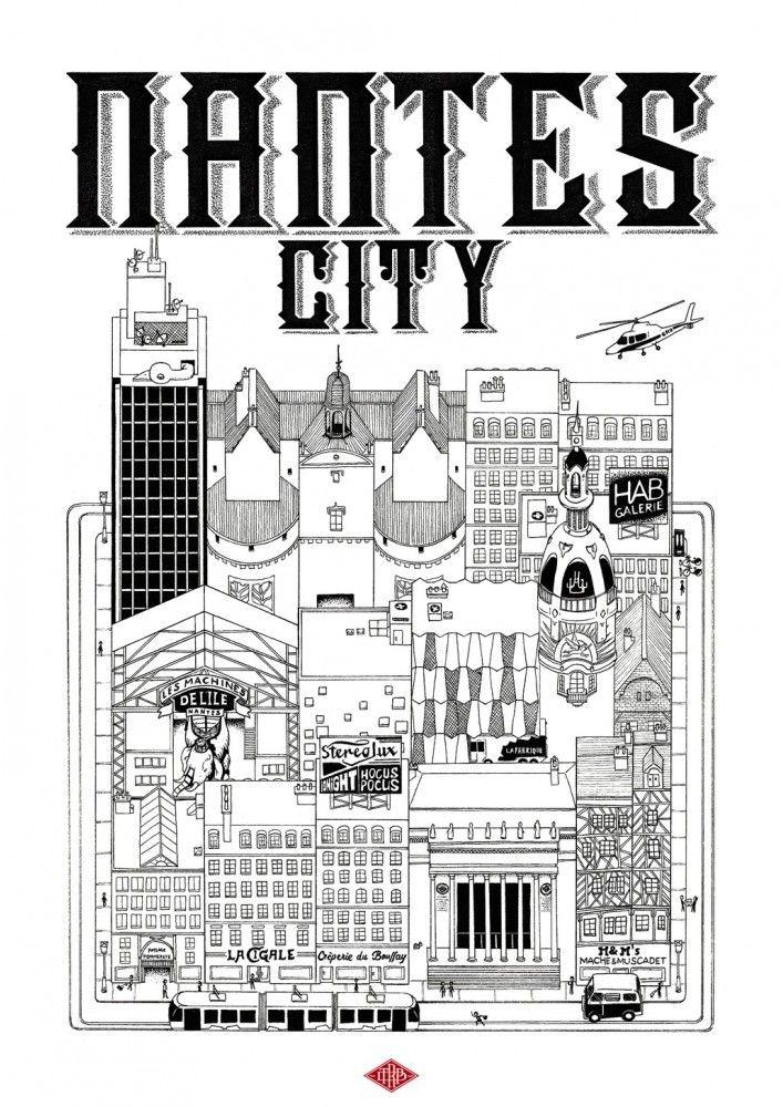 quand nantes s 39 affiche une fille nantes nantes illustration ville city poster graphic. Black Bedroom Furniture Sets. Home Design Ideas
