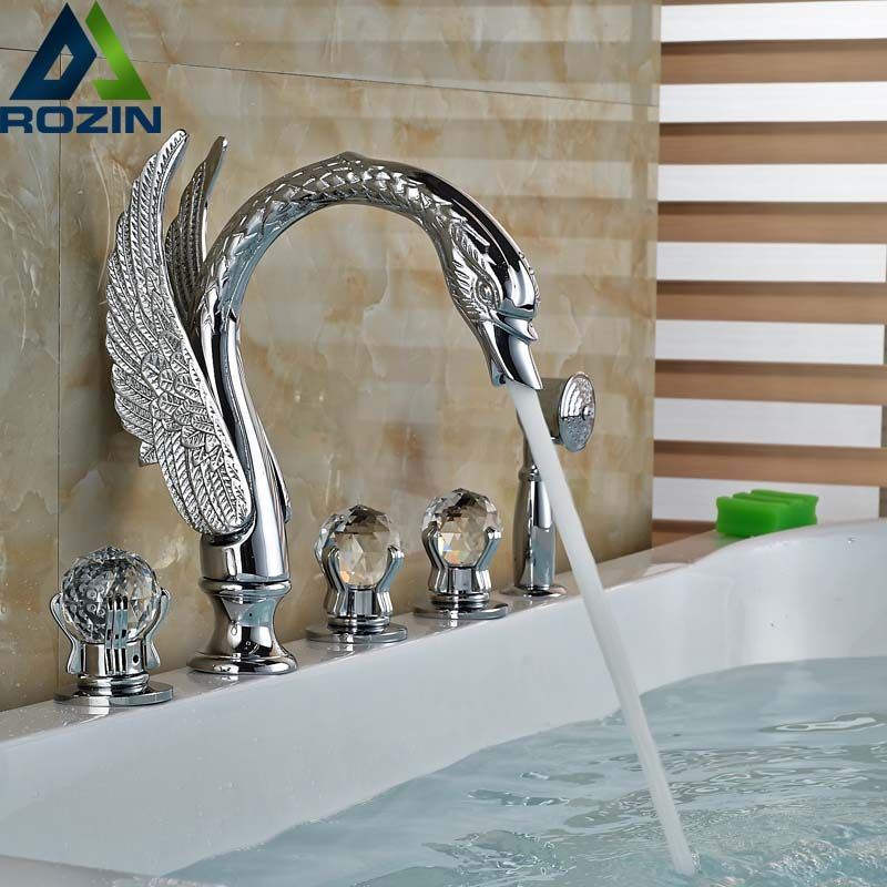 Nickel Brushed Bathroom Tub Faucet Waterfall Spout Hand Sprayer 5