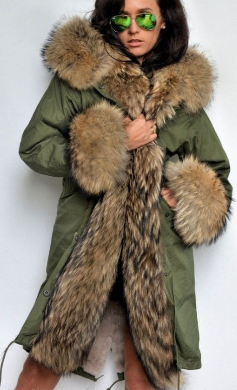 Army/Military Parka Coat with Fox Fur-Army/Olive Green | Military ...