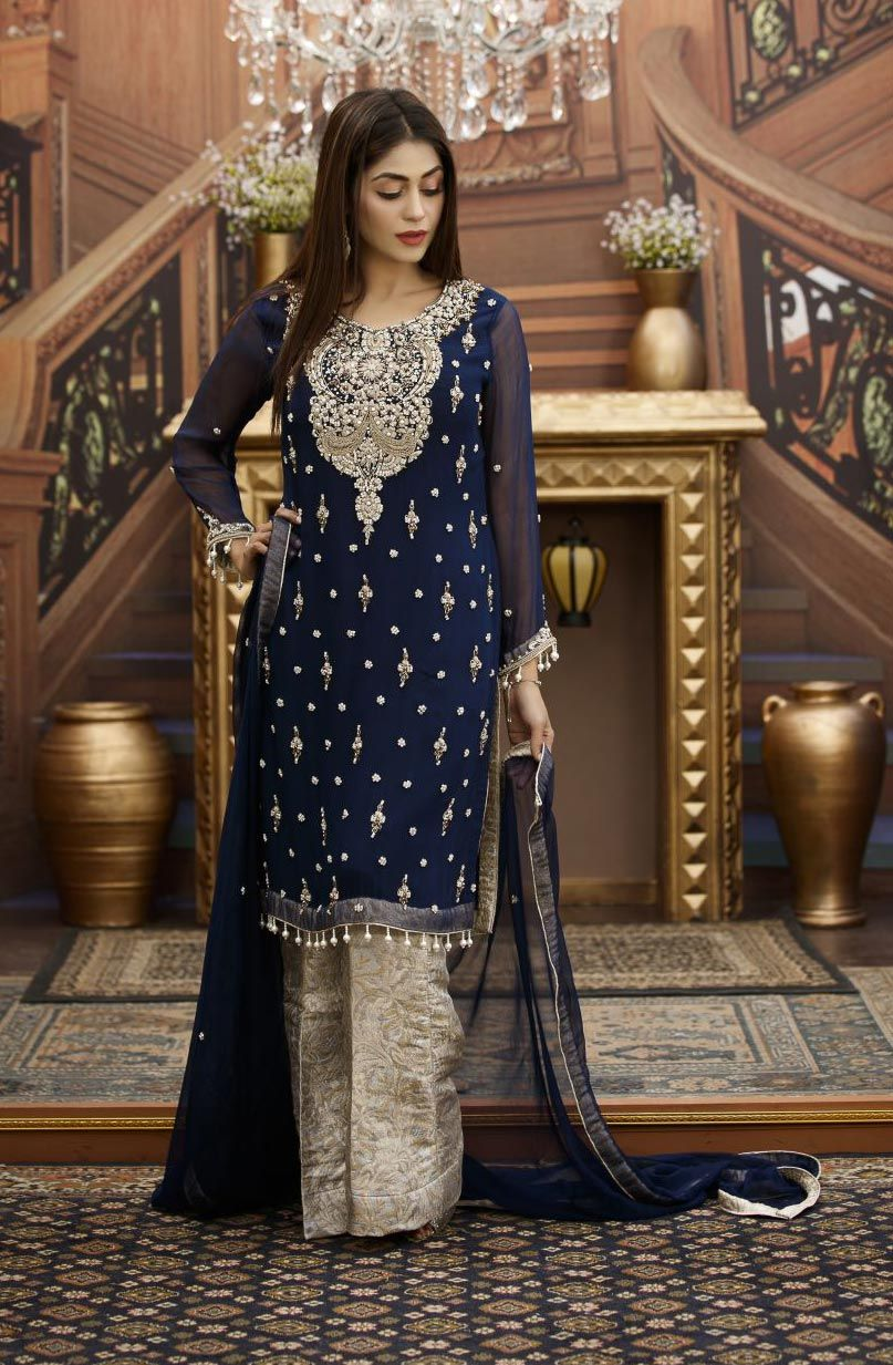 Exclusive navy blue and steel grey bridal wear g15813 in