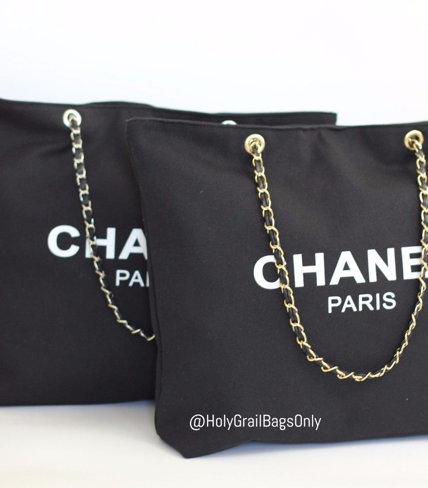 ed0c82a308ec  Chanel VIP Canvas Tote - Beauty Gift Tote Canvas Gold Hardware Chain  Straps  CHANEL  TotesShoppers