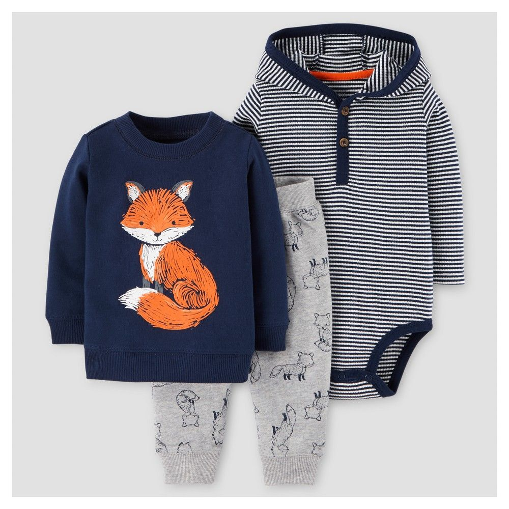 991dfa3f2cd8 Baby Boys  3pc Fox Cotton Pullover Hooded Henley Set - Just One You ...