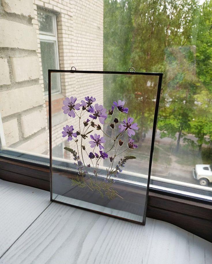 Gerahmte gepresste Blumen blau Dekor. Urtext Herbarium. trockene Hasenschwanz Wa…