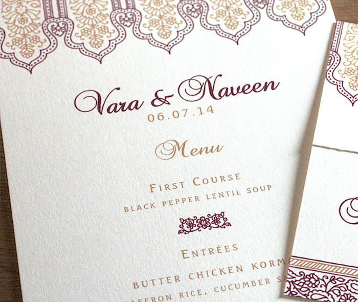 Indian Wedding Reception Food Menu: Formal Indian Wedding Dinner Menu With Floral Taj Mahal