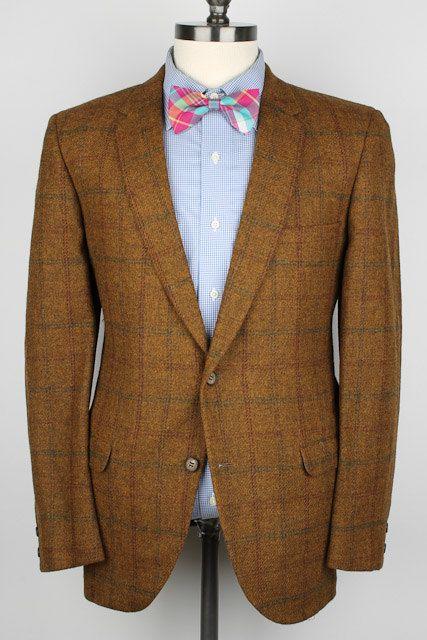 101eaf475bc2 Rustic Brown Plaid Mens Tweed Jacket - Royalton Clothes New Old Stock Wool  40 R Mens Sport Coat Blazer