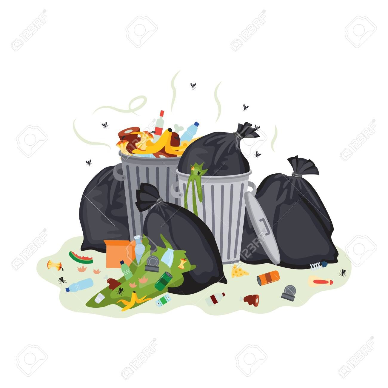 Garbage Pile Black Trash Bags And Metal Bins Full Of Disgusting Green Smelly Food Waste Plastic Bottles And Cans Cartoons Vector Simple Graphic Plastic Bag