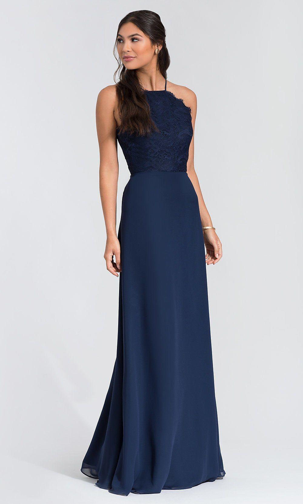 Lacebodice hayley paige long bridesmaid dress bridesmaid dress