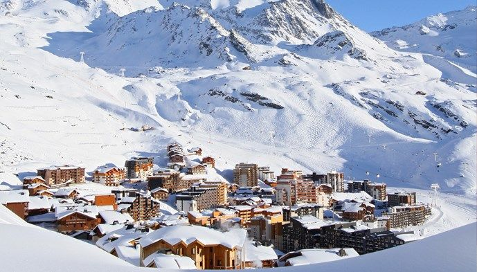 Oversikt Over Val Thorens Skiing Snow Winter Sts Alpresor Puder