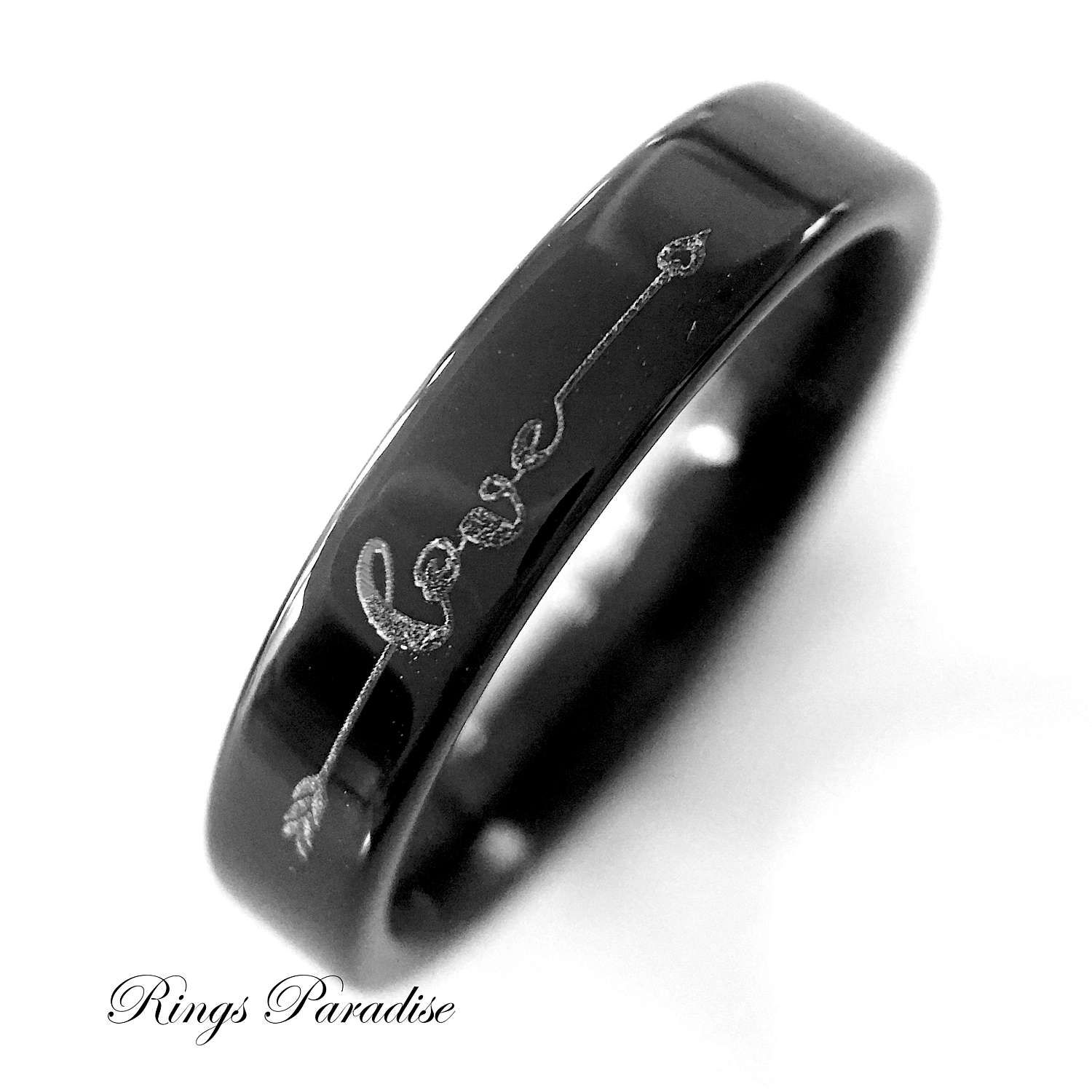 Stacking Stackable Ring, Wedding Band, Love Sign Ring, Love Ring,  Women Tungsten Ring, Wedding Rings, 4mm Black Tungsten Ring, Women Ring by RingsParadise on Etsy