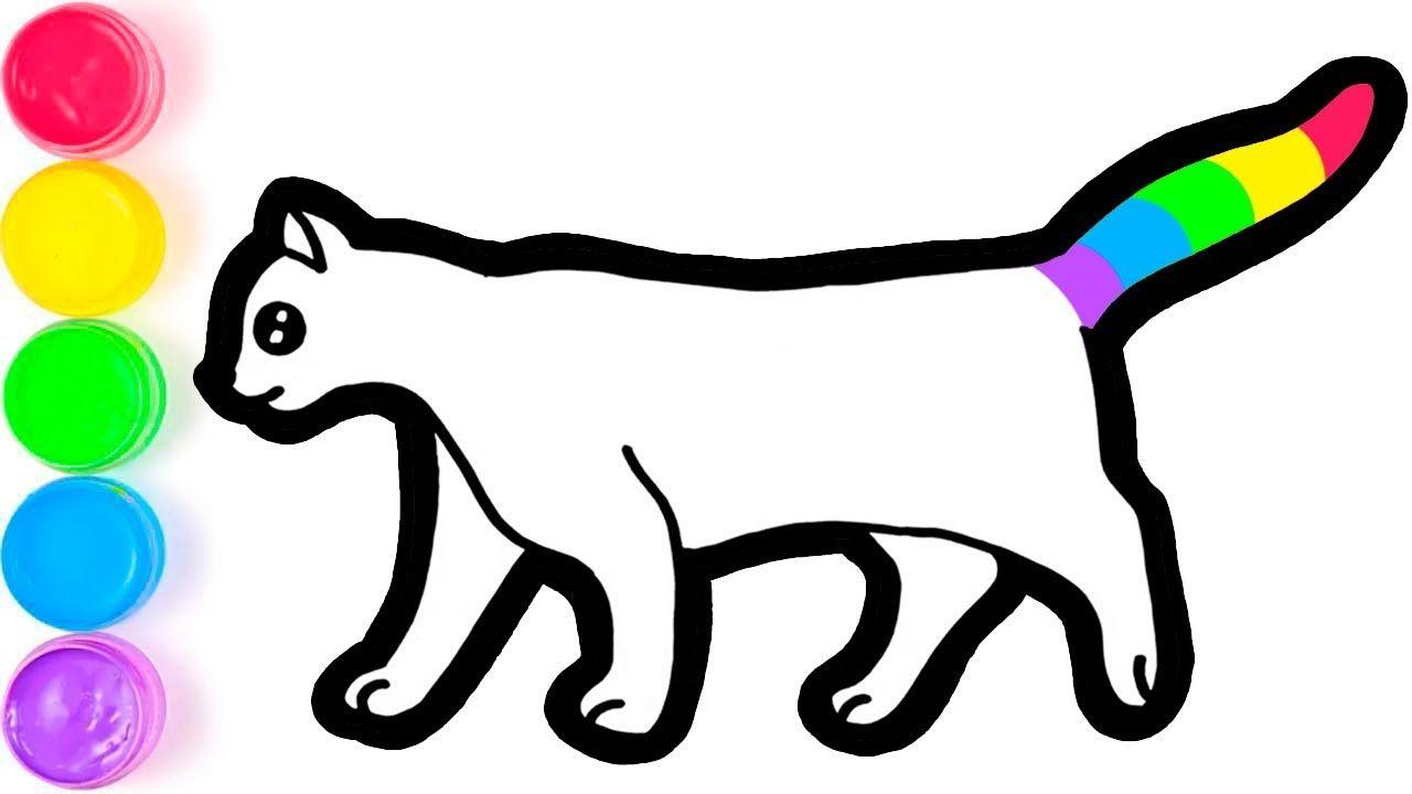 Menggambar Dan Mewarnai Lucu Kucing Pelangi Berdiri Untuk Anak