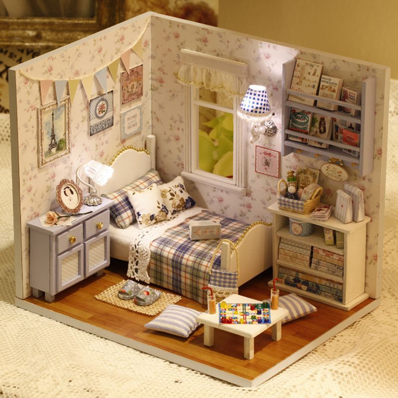 Diy Wooden Miniature Doll House Furniture Toy Miniatura Puzzle Model Handmade Dollhouse Creative